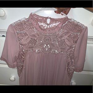 Pink Lace Open-Back Dress